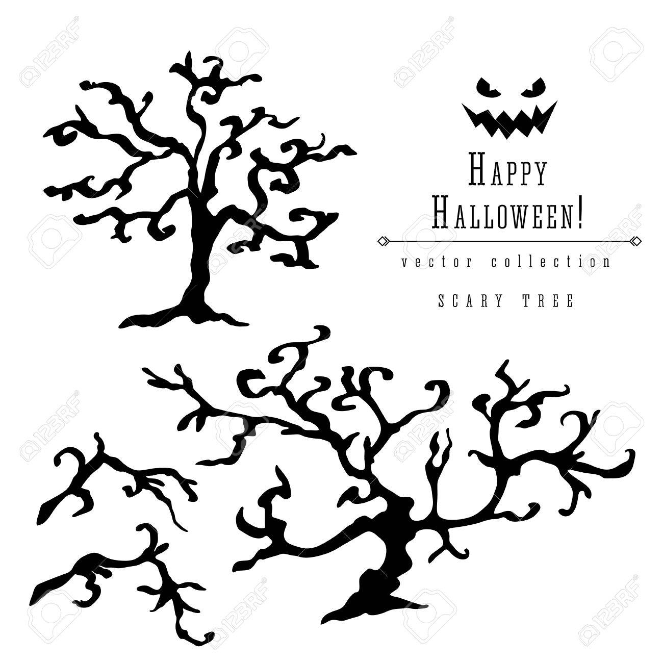 Scary Dead Trees Silhouette Vector Halloween Decoration Set With
