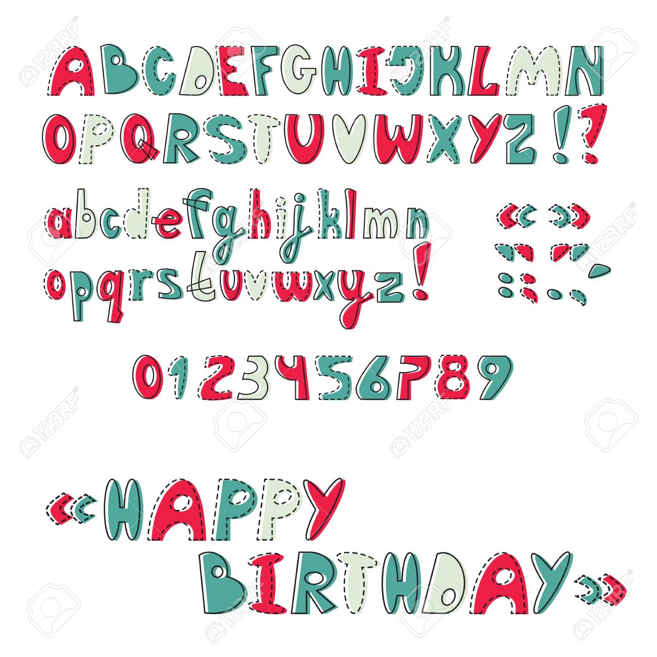 Comic Letters ABC Baby Font Cartoon Uppercase And Lowercase Alphabet Numbers Fancy
