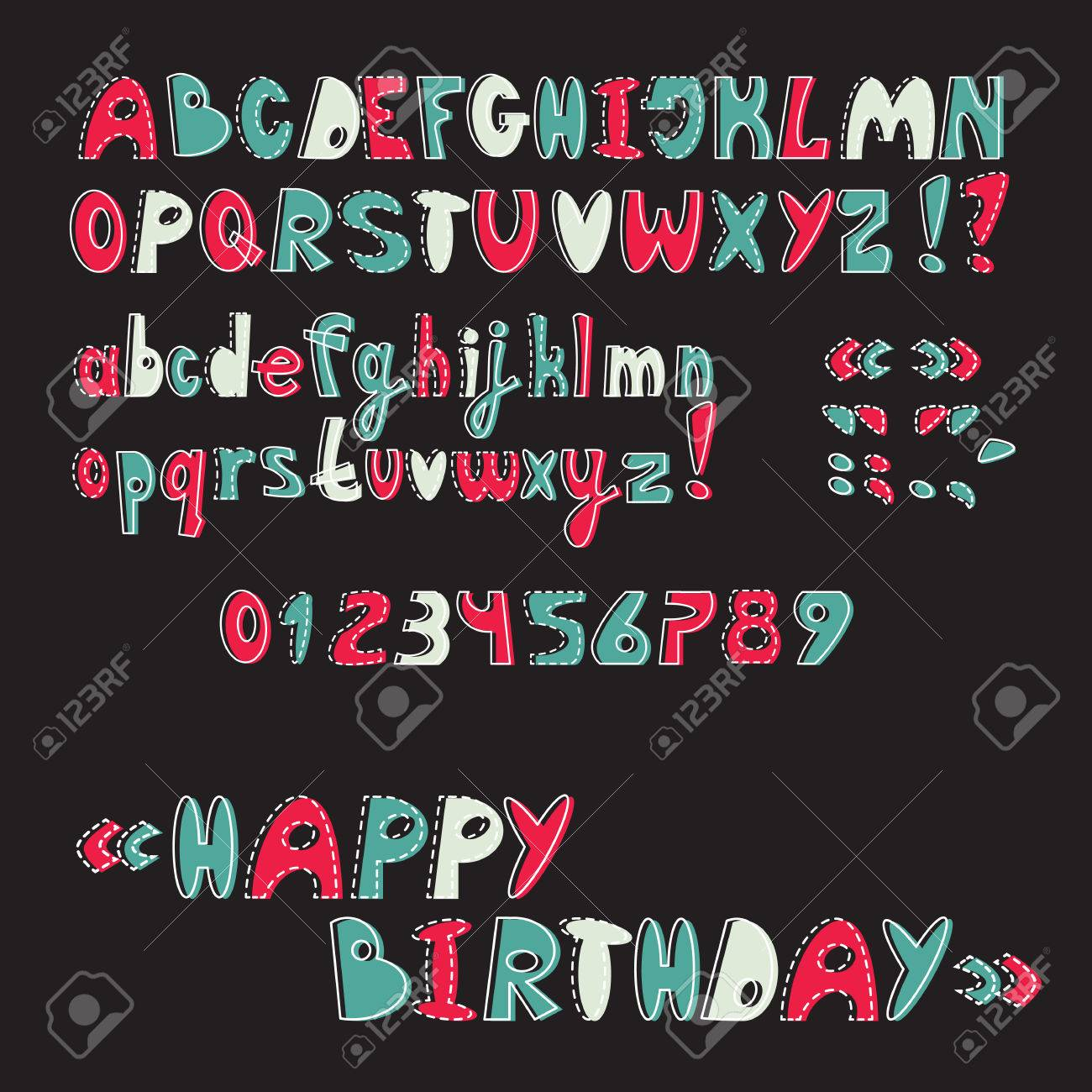 Comic Letters ABC Baby Font Cartoon Vector Uppercase And Lowercase Alphabet Numbers