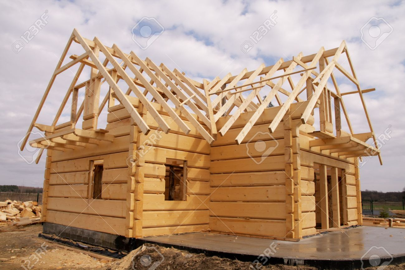 Attractive Ecological Wooden House, Building Area And Construction Stock Photo    5100653