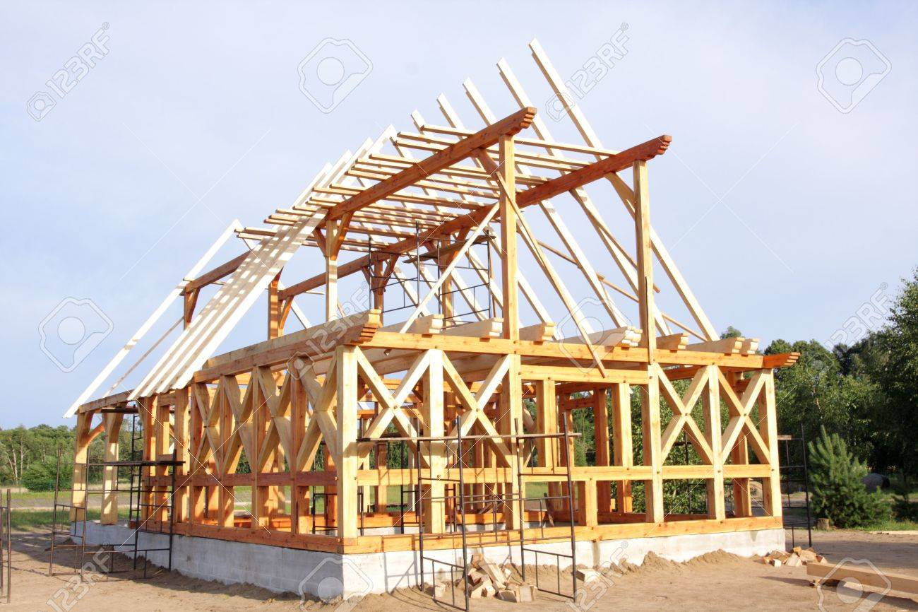 Ecological wooden house building area and construction stock photo 5357926