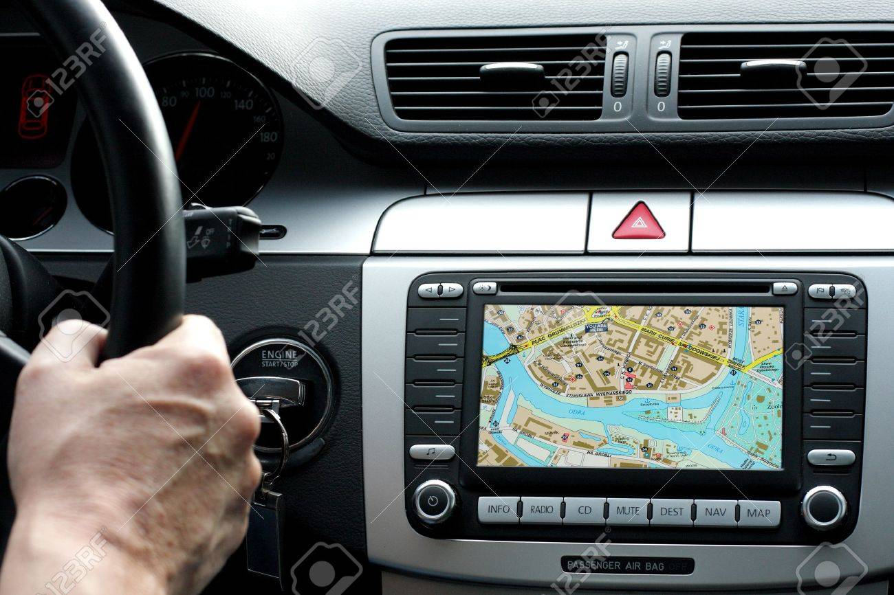 Car dashboard with gps panel, travel and technology background - 10358977
