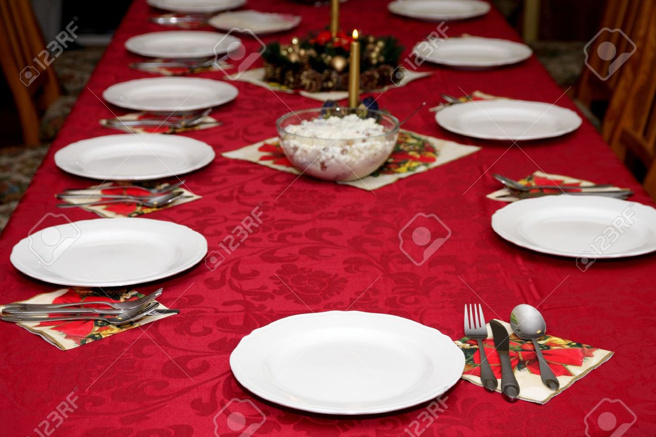 Beautiful Red Table Setting For Christmas, Holiday Background Stock ...