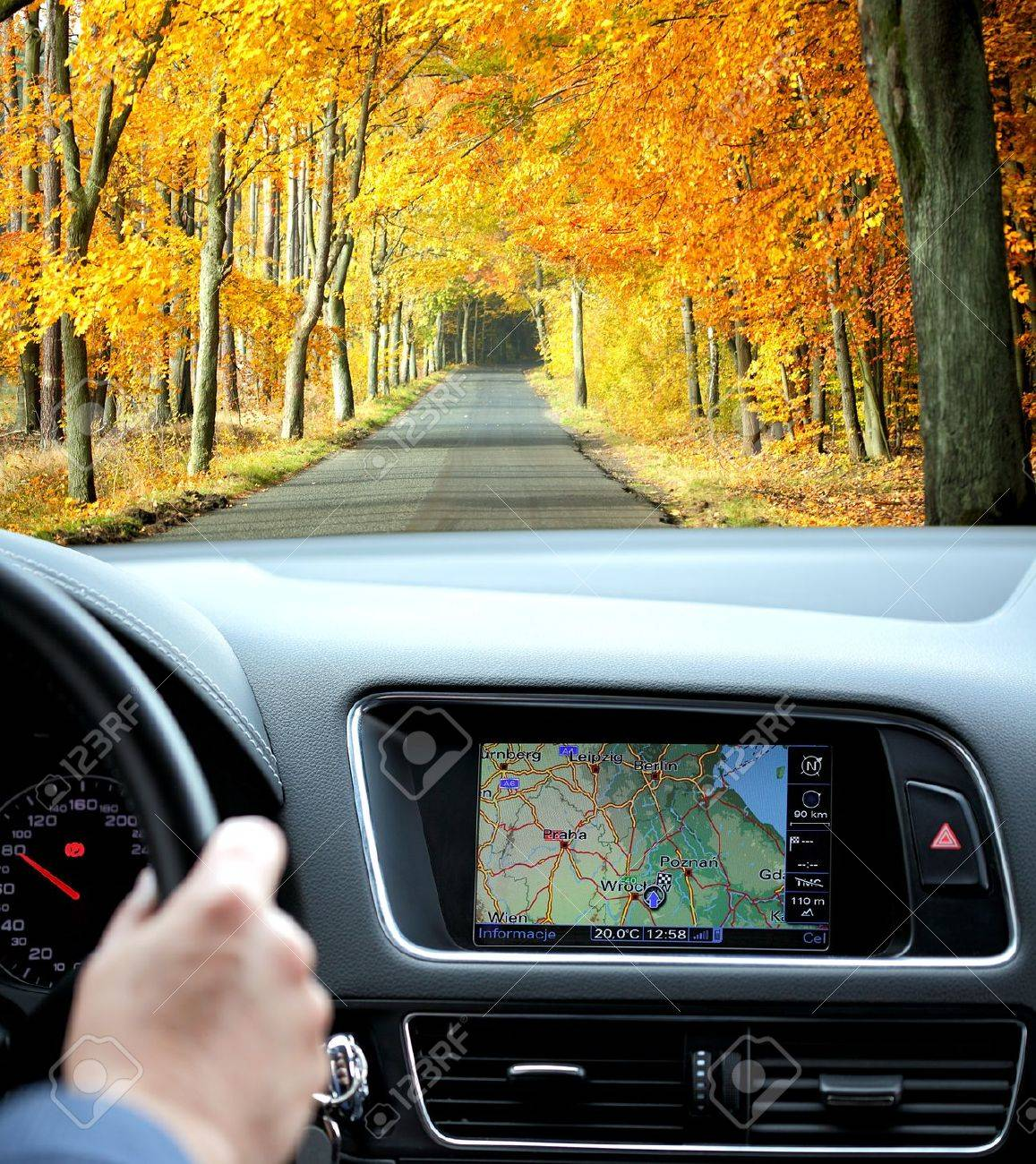 Travel by car with gps in autumnal scenery Stock Photo - 11187910