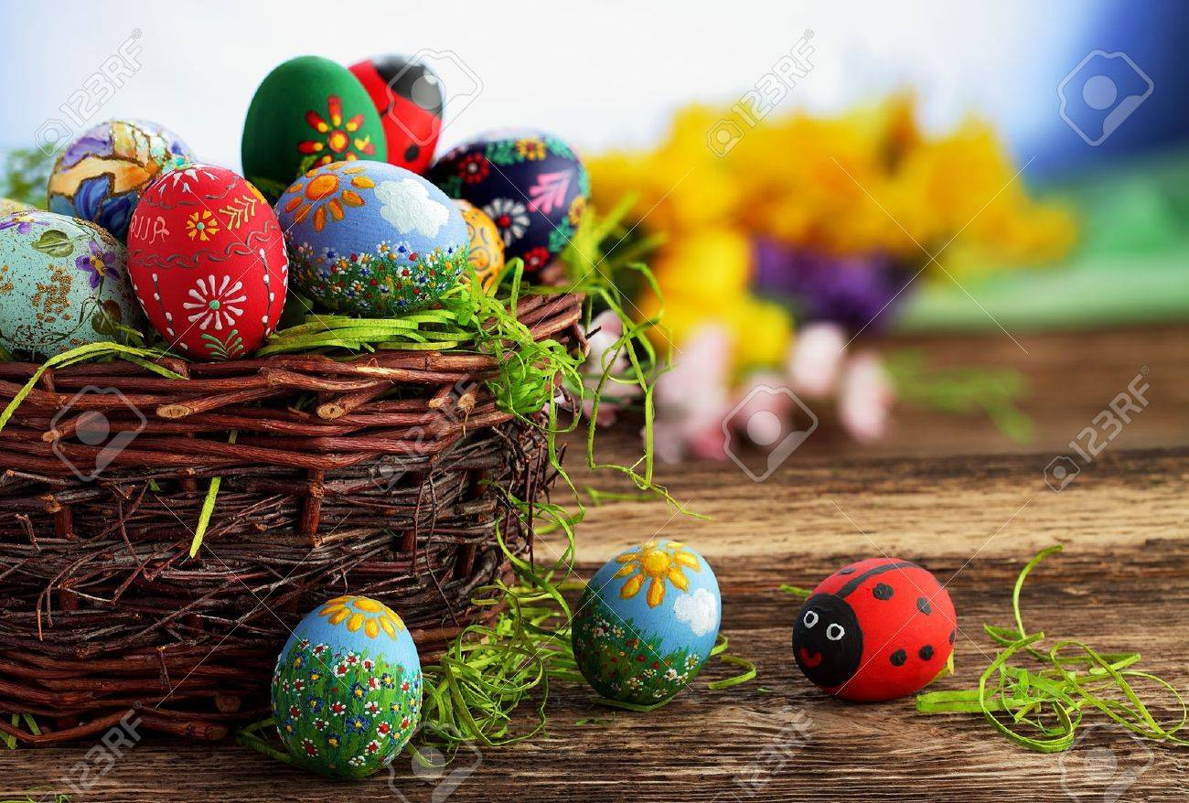 Easter Eggs And Natural Wooden Country Table Background Texture Stock Photo