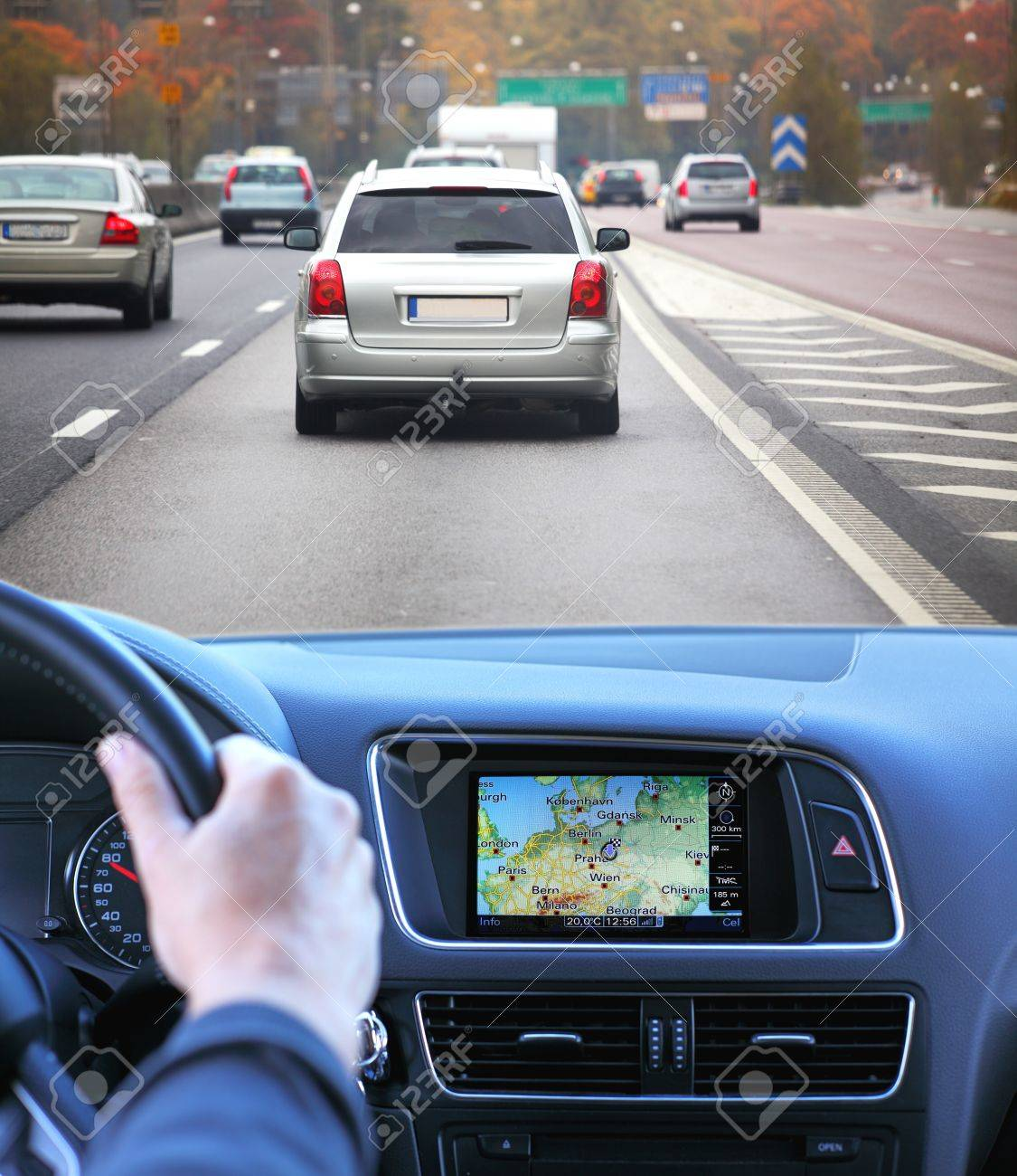 Highway driving fast with gps Stock Photo - 15192818