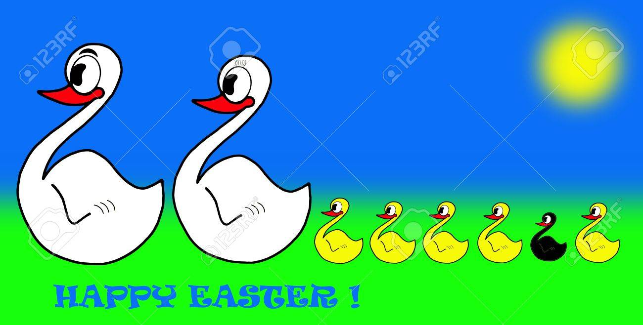 happy easter family of swan and black ugly duckling stock photo