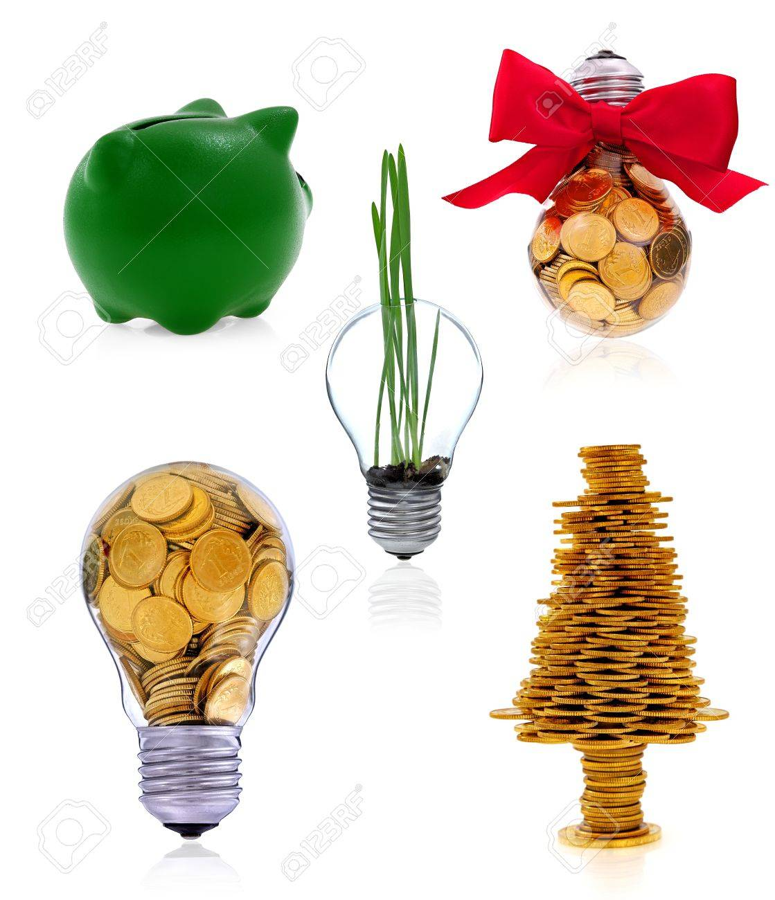 Traditional  lightbulb with  golden coins and green piggy bank, creative business symbols Stock Photo - 17247660