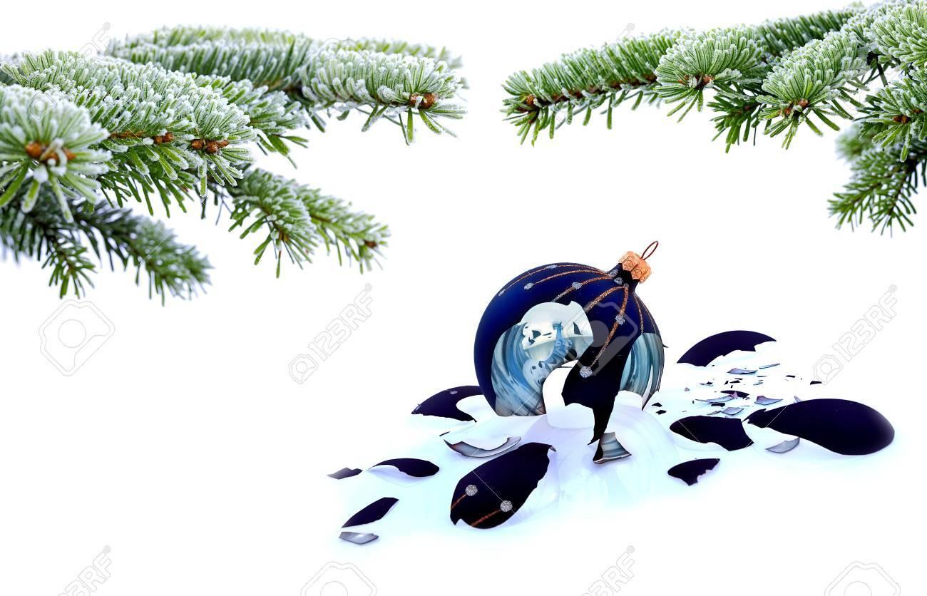 Christmas Tree And Broken Glass Bauble On White, Failed Christmas ...