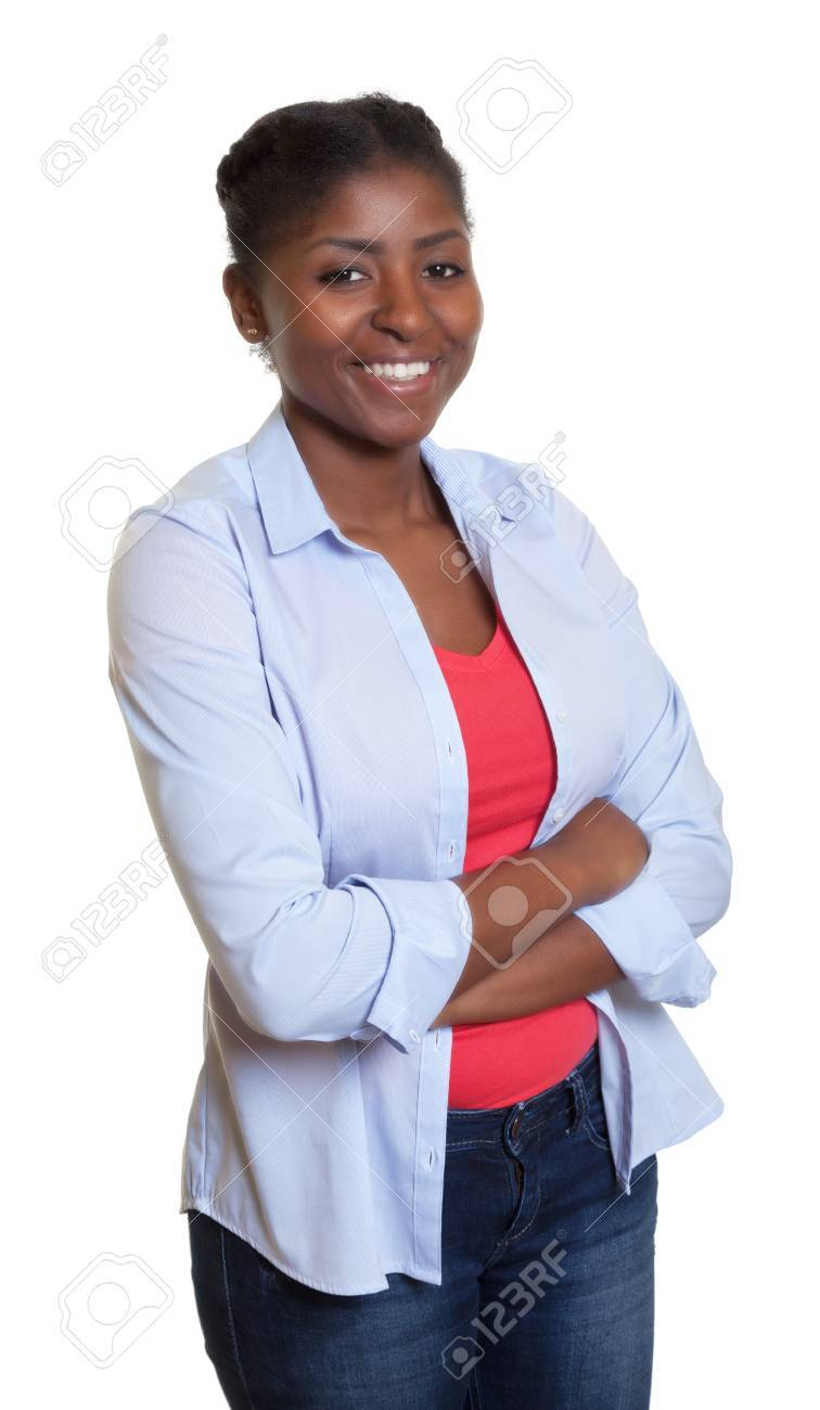 African woman with casual clothes and crossed arms - 43727980
