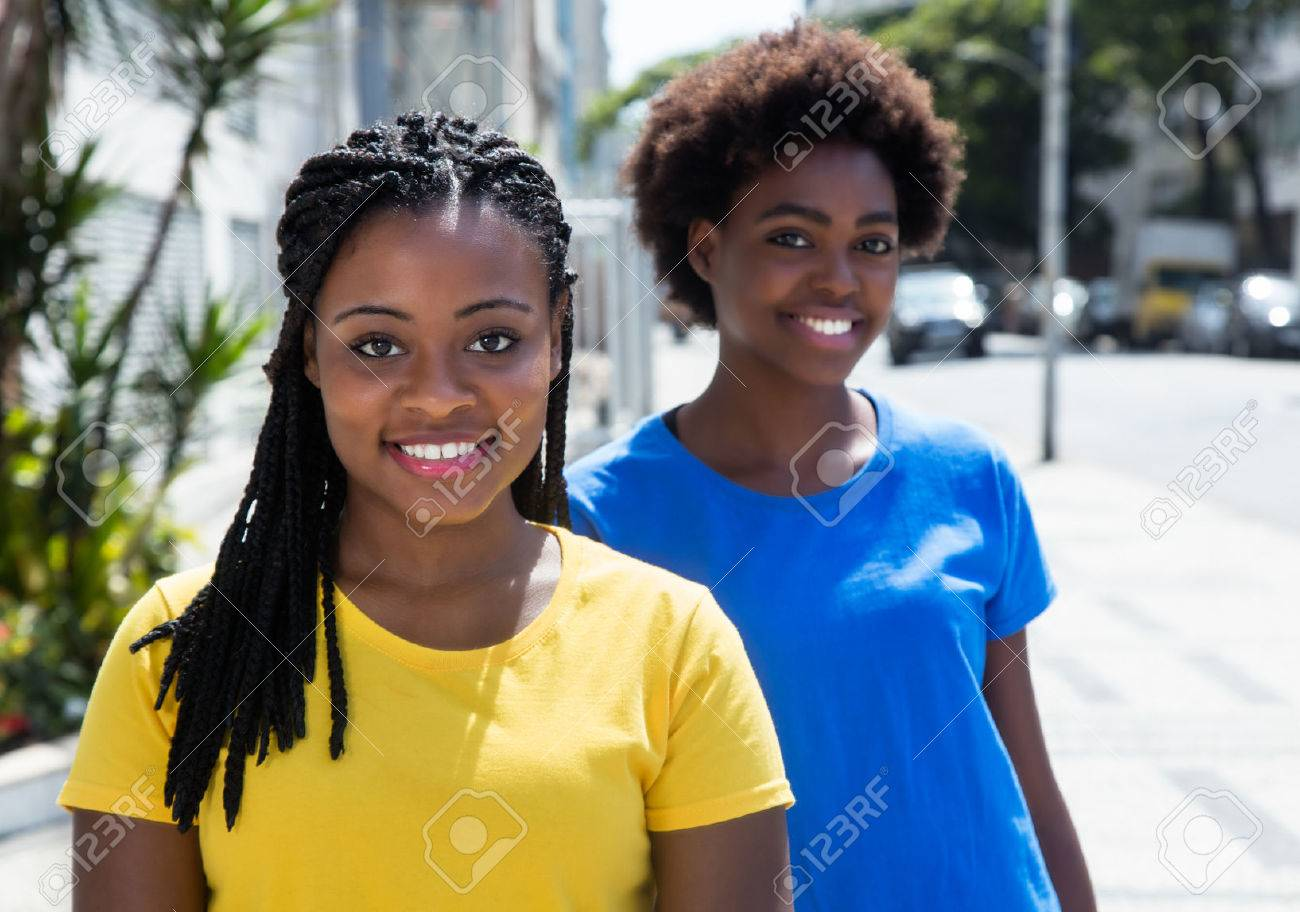 Two african american girlfriends in the city - 50907433