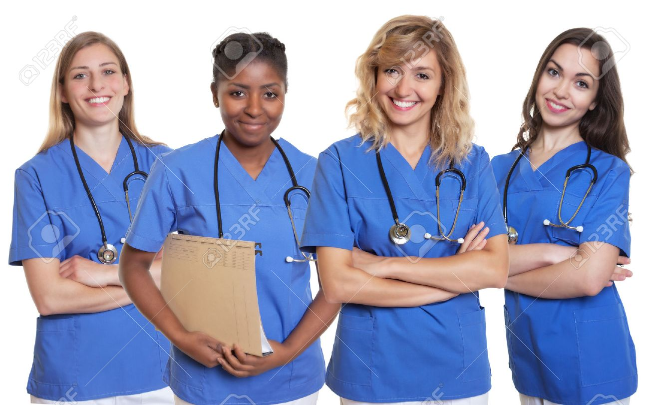 Group Of Four Nurses Stock Photo, Picture And Royalty Free Image ...