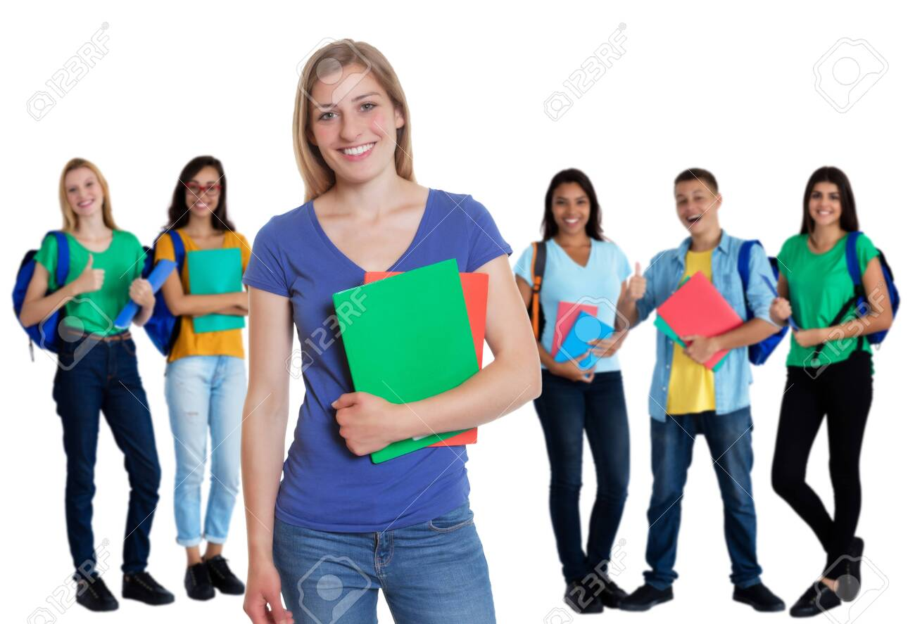 Group of 5 caucasian and latin american students on an isolated white background for cut out - 128456981