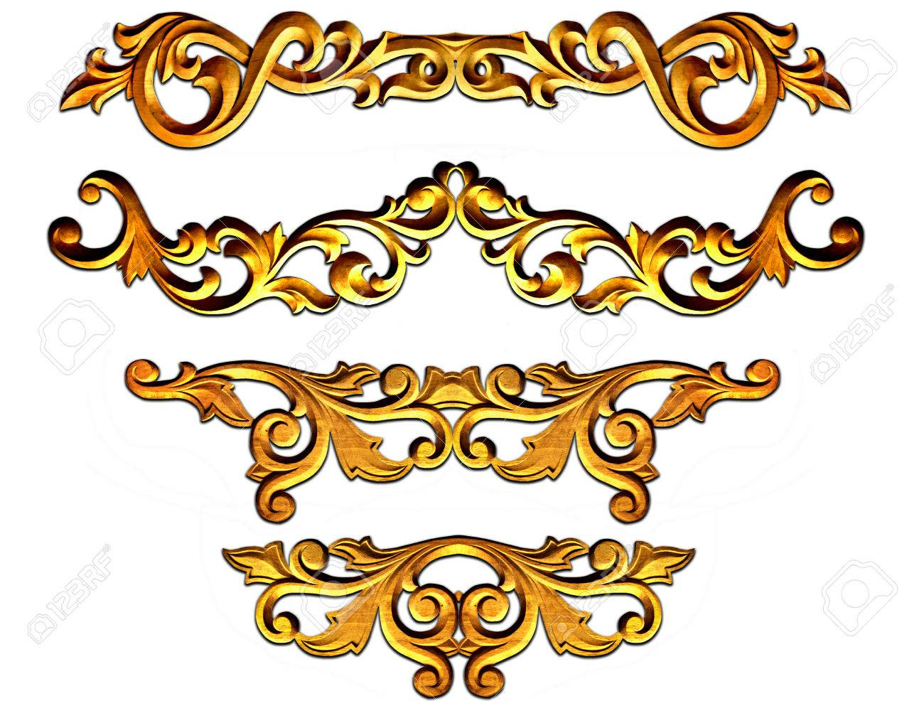 gold ornate baroque frame elements for design stock photo picture