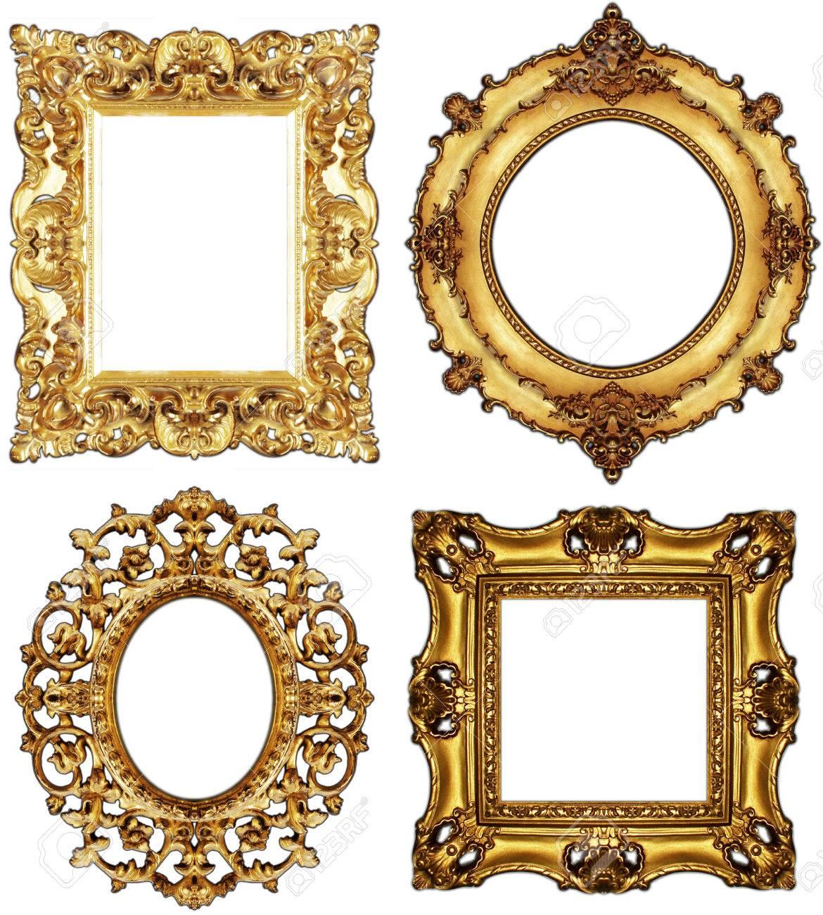 Bild Goldene Antike Bilderrahmen Set Vintage Isoliert Auf Weißem ...