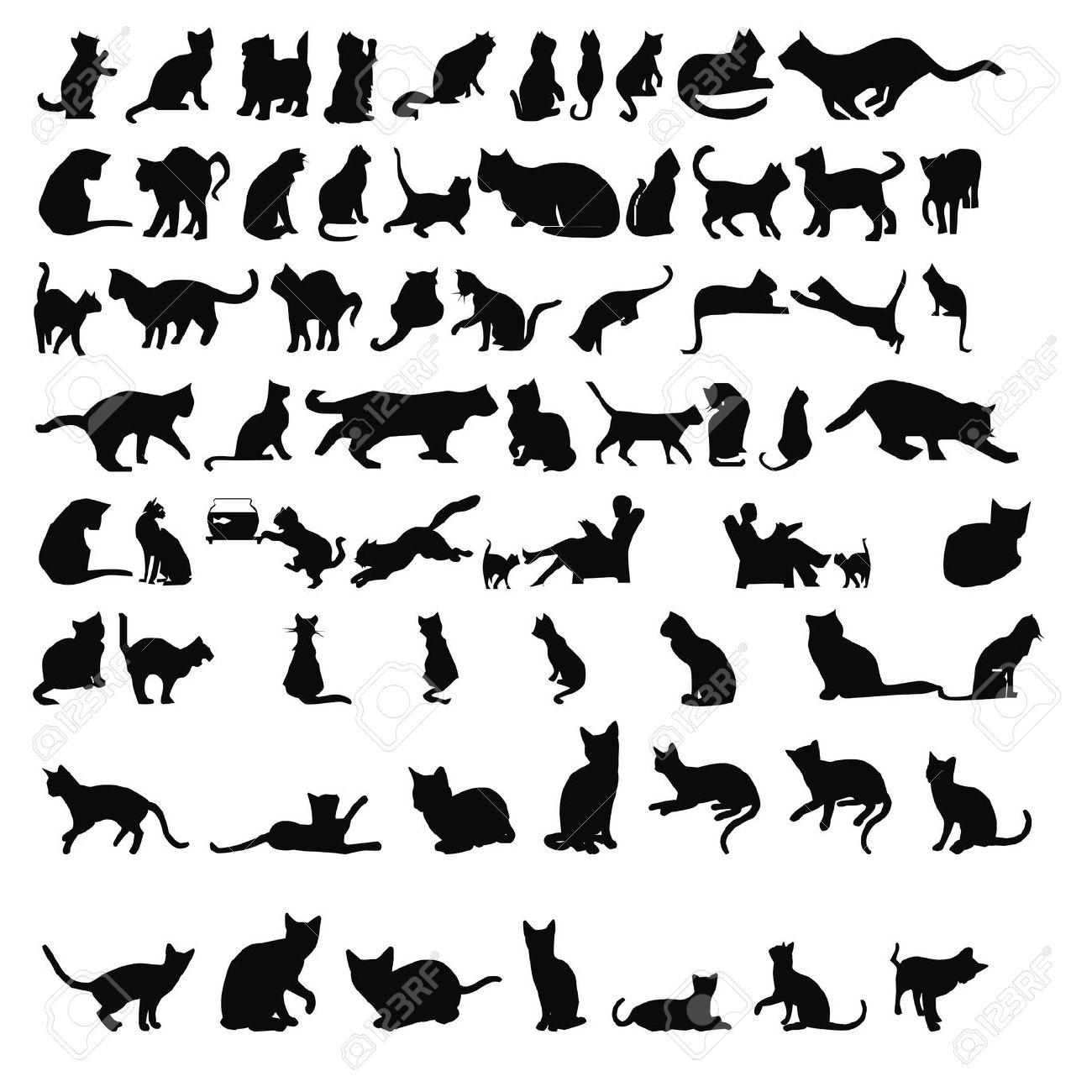silueta gato siluetas de gatos Foto de archivo