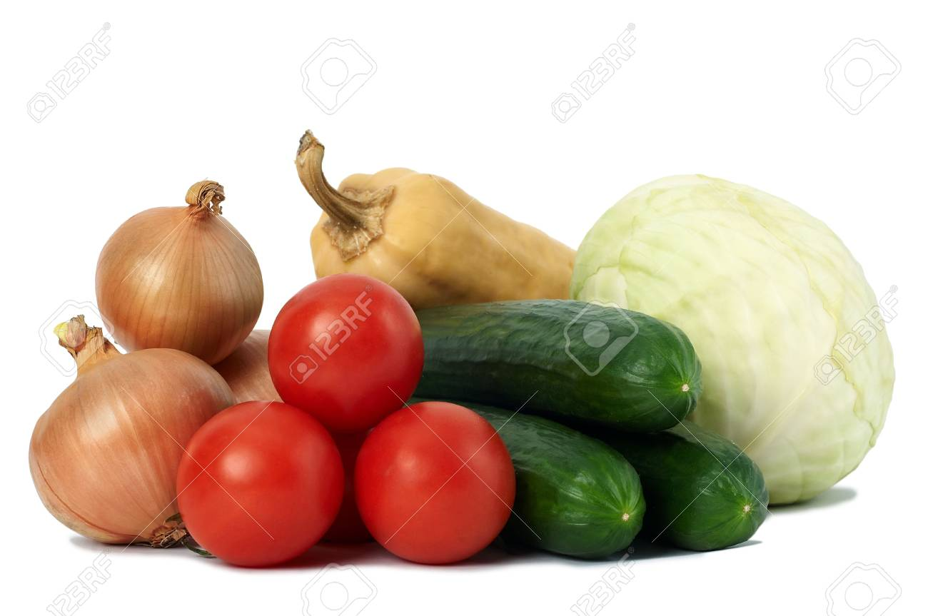 gruop of fresh ripe autumn vegetables isolated Stock Photo - 6806245