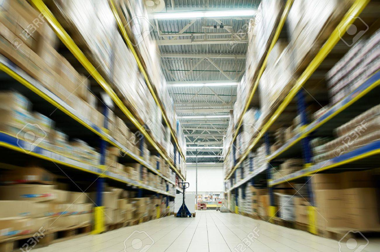 long stack arrangement of goods in a wholesale and retail warehouse depot Stock Photo - 7399909