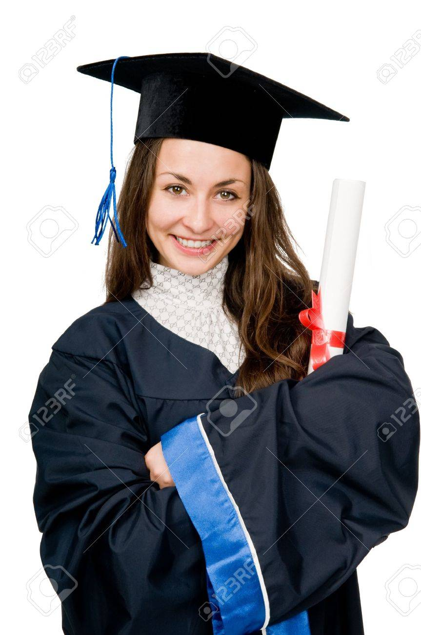 Young Smiling Graduate Girl Student In Gown Looking Frankly ...