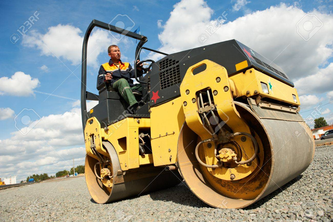compactor roller at road work Stock Photo - 10506430