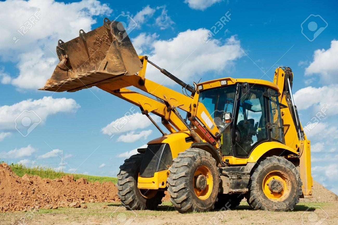 Excavator loader with backhoe works stock photo 10816006