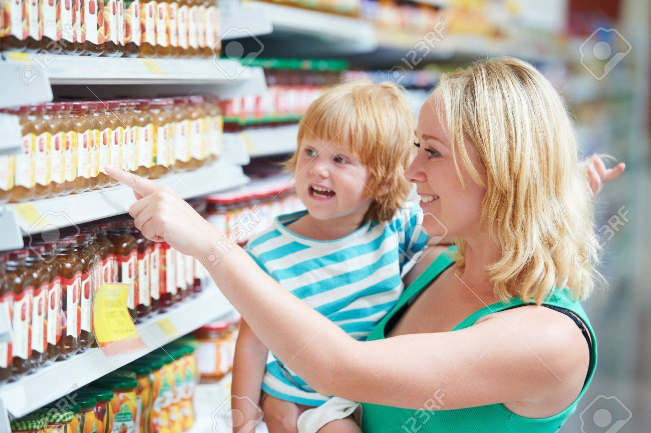woman and boy making shopping Stock Photo - 12589135