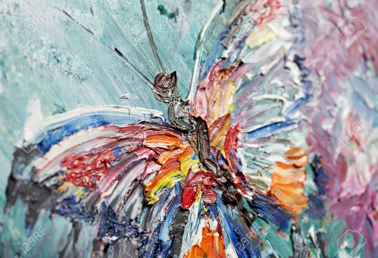 closeup fragment of oil painting butterfly Stock Photo - 12876473