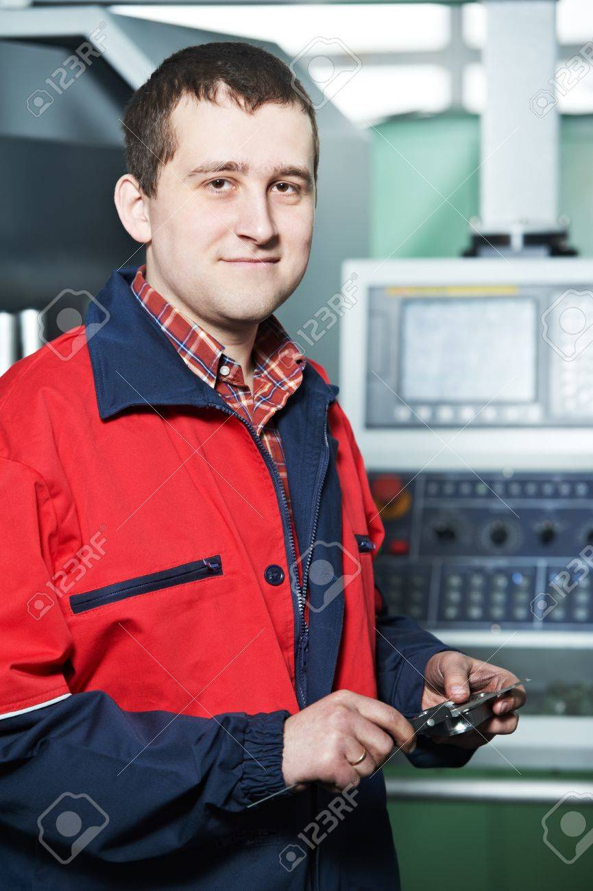 worker with measuring hand caliper tool Stock Photo - 13097449