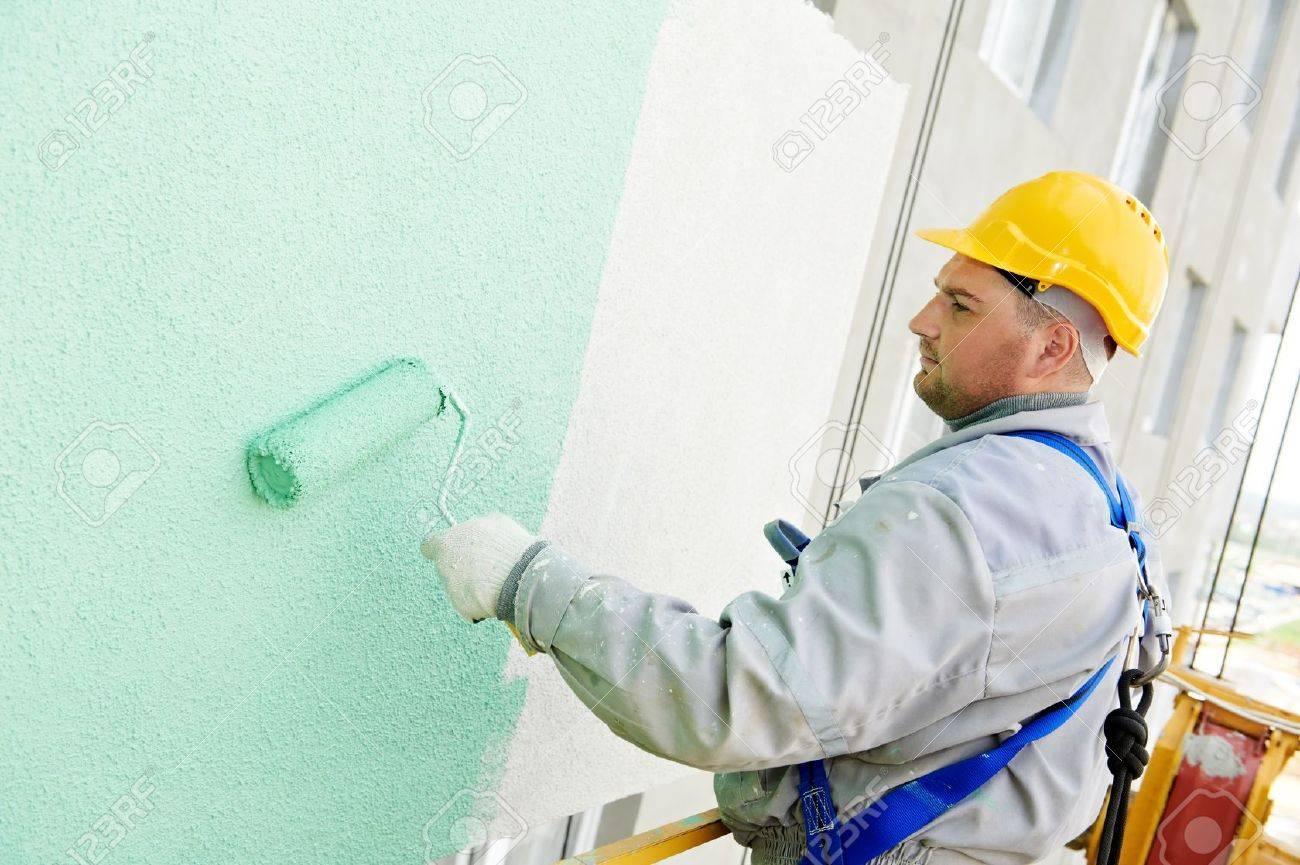 Maler bei der arbeit  Baumeister Fassade Maler Bei Der Arbeit Lizenzfreie Fotos, Bilder ...