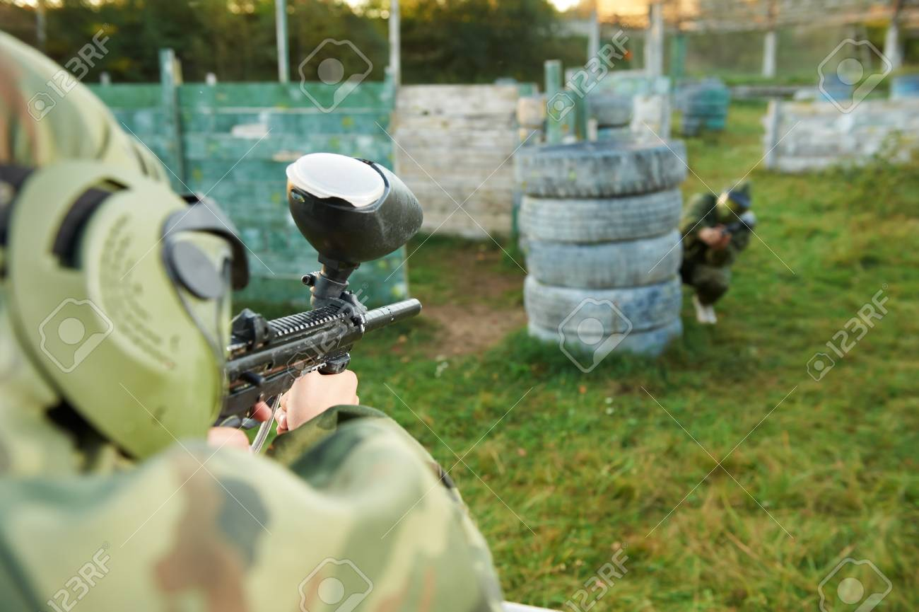 paintball player under attack Stock Photo - 13622411