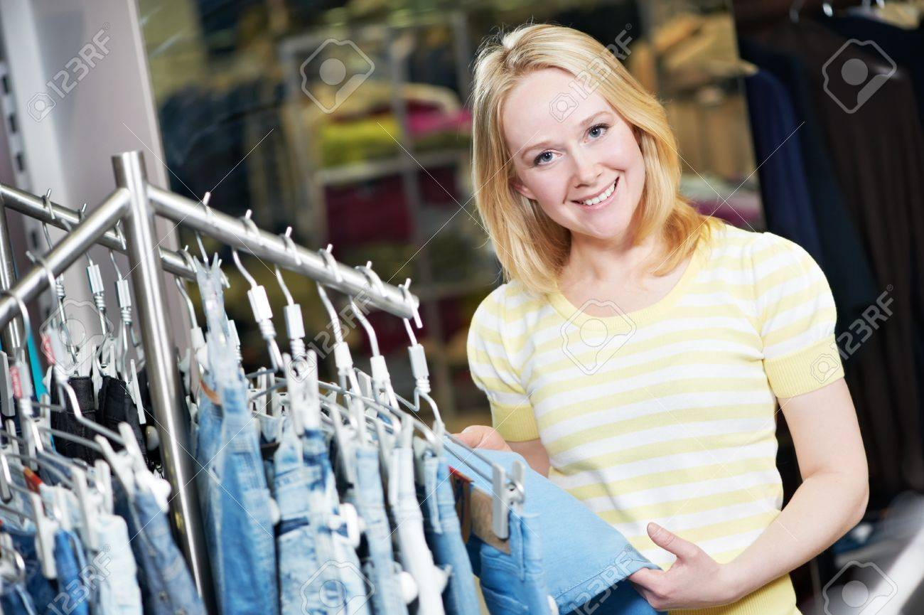 Young Woman At Clothes Shopping Store Stock Photo, Picture And ...