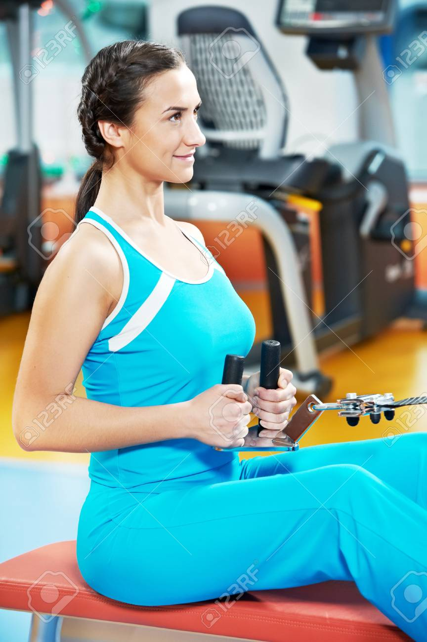 Happy woman with at training gym Stock Photo - 14051340