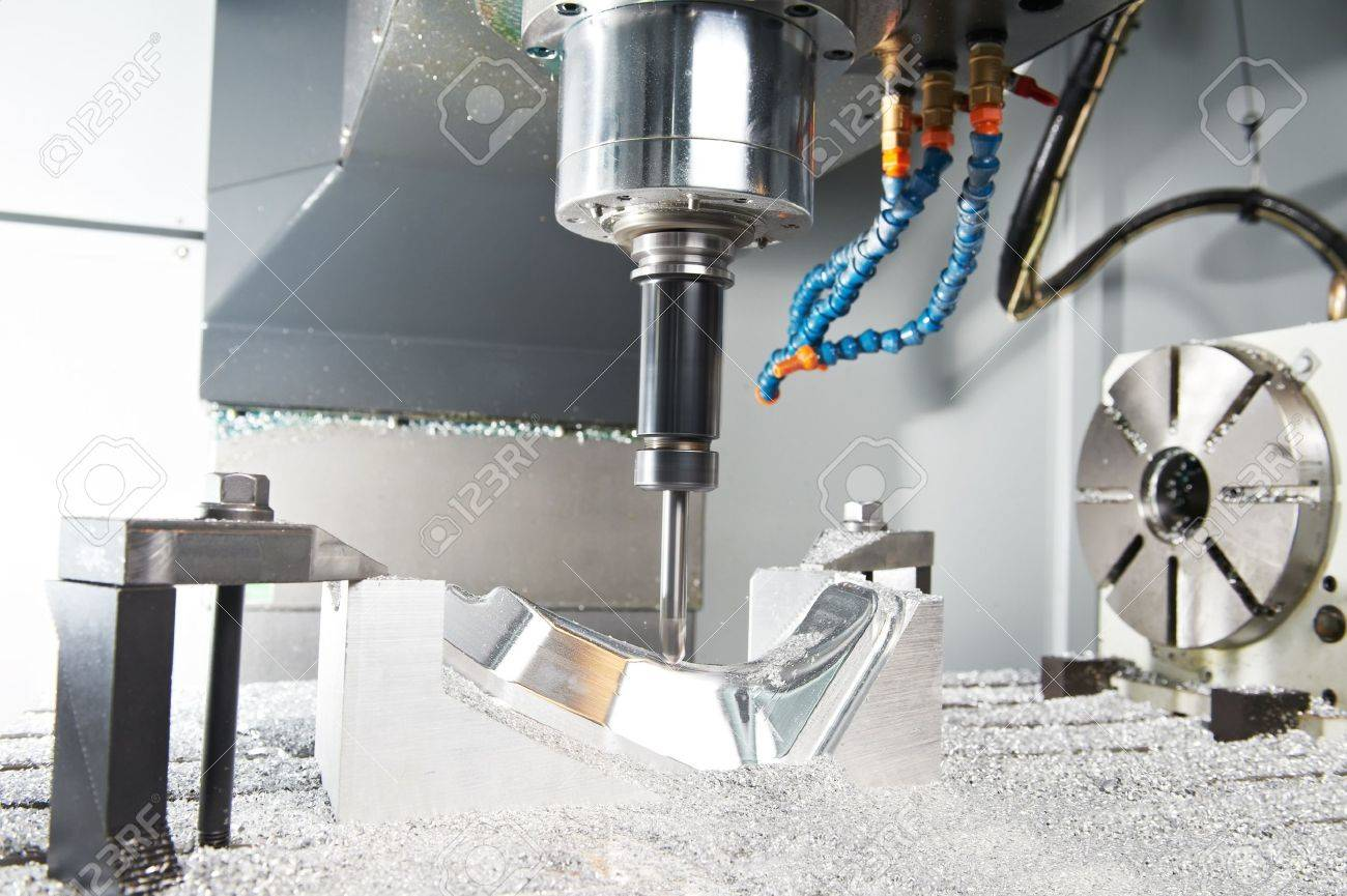 Close-up process of metal machining by mill Stock Photo - 17825534