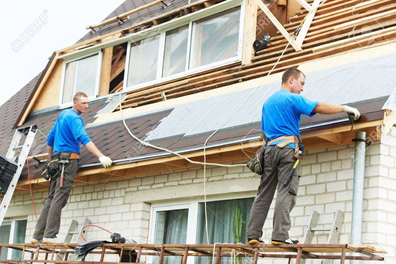 Roofing Work With Flex Roof Stock Photo   18124025