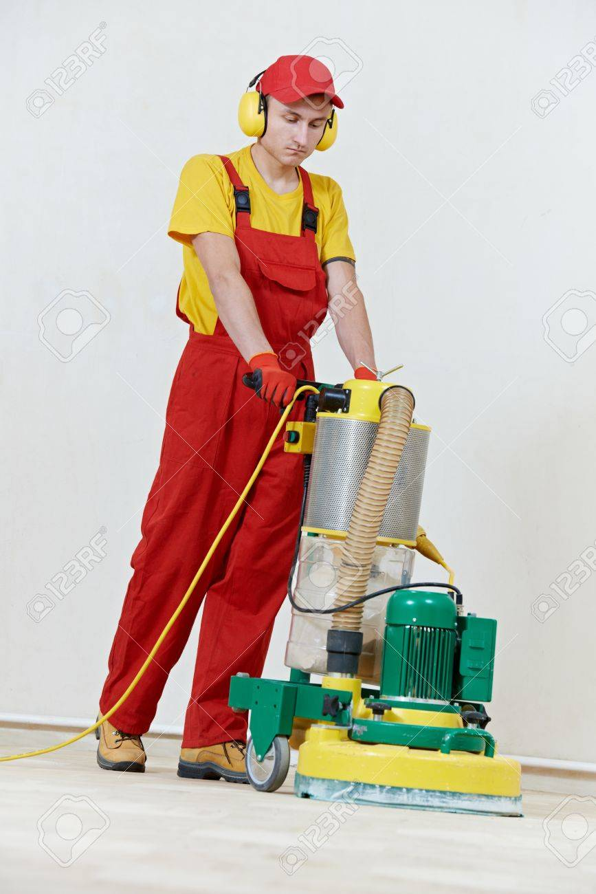Parquet Floor maintenance by grinding machine Stock Photo - 18197255