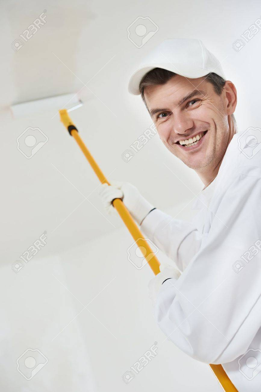 happy house painter worker Stock Photo - 18919175