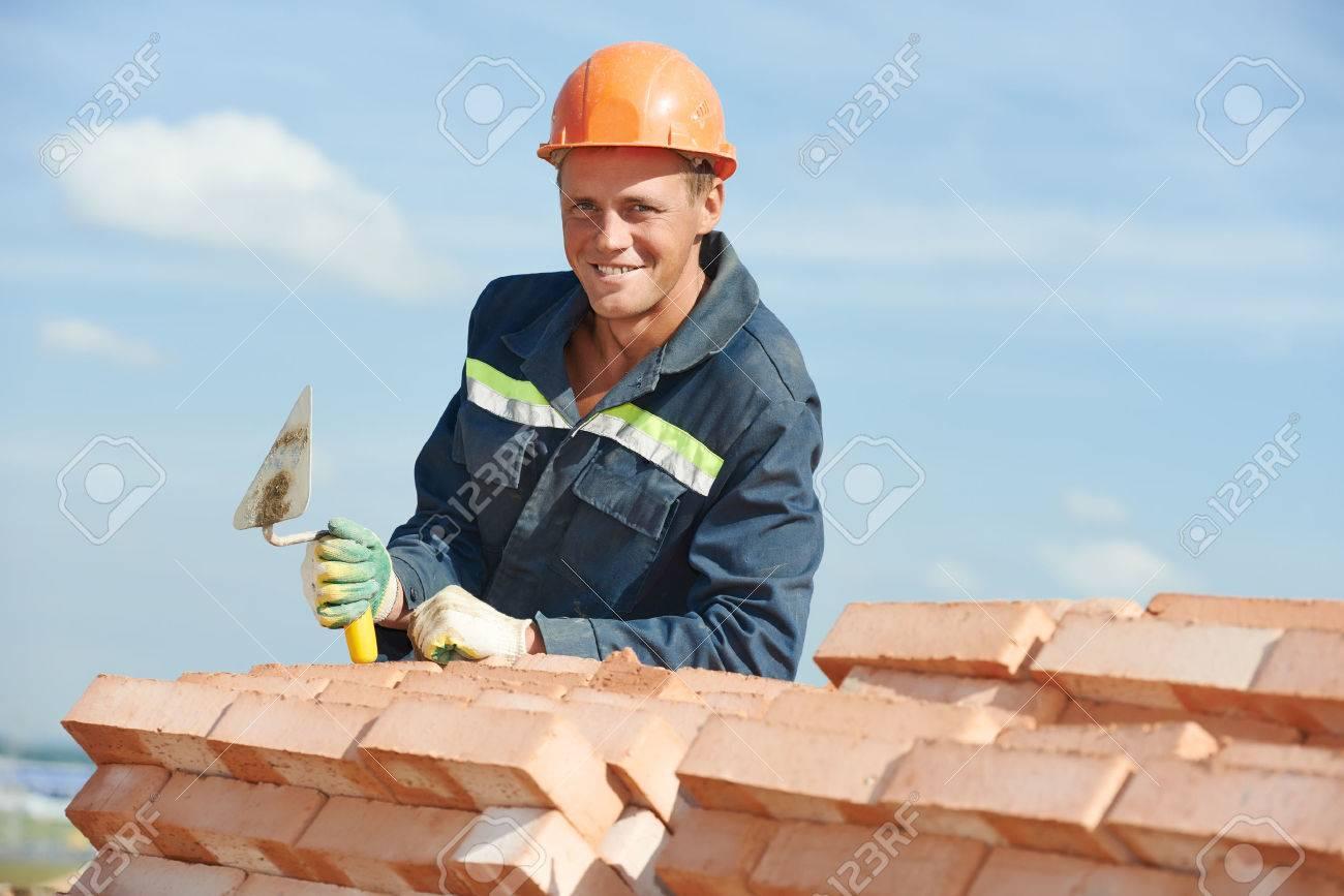 Retrato De La Construcción Albañil Albañil Trabajador Con Espátula ...