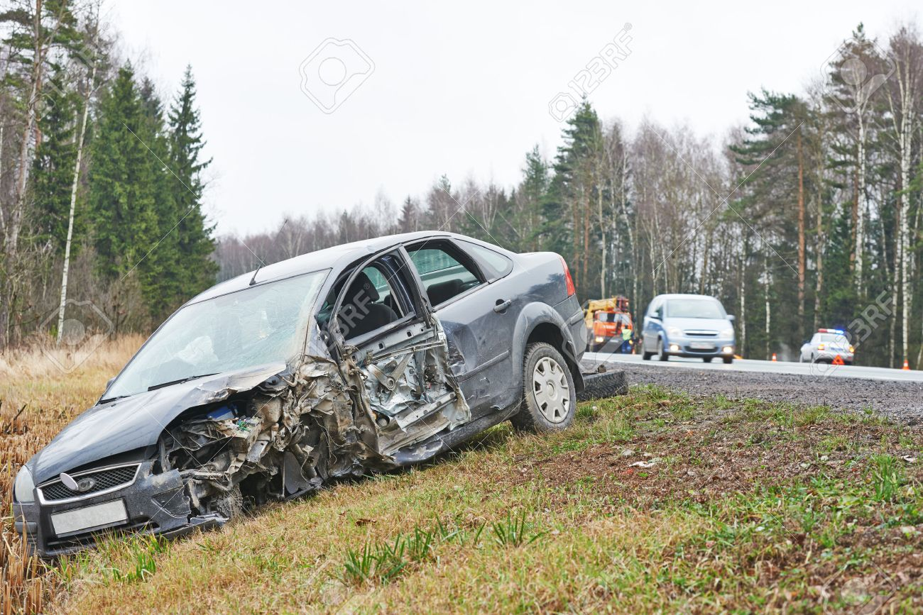 Road Accident Car Crash On An Highway Lane Road. Automobile In ...