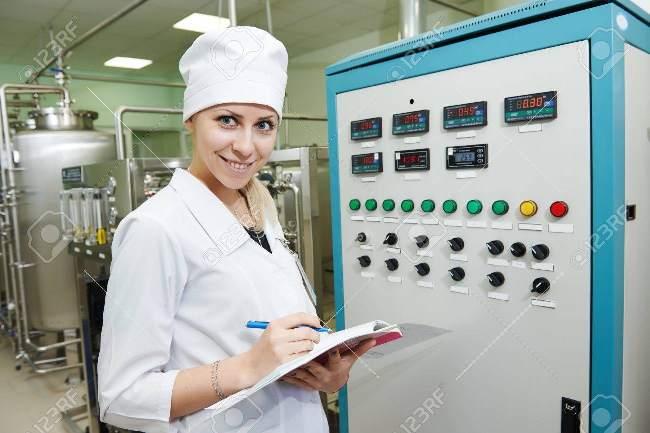 Pharmaceutical Factory Woman Worker Operating Water Preparation – Production Worker
