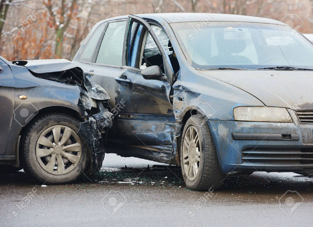 Automobile Crash Accident On Street, Damaged Cars After Collision ...