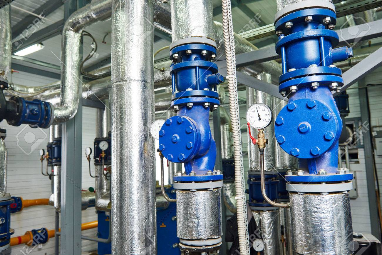 Closeup Of Manometer, Pipes And Faucet Valves Of Gas Heating.. Stock ...