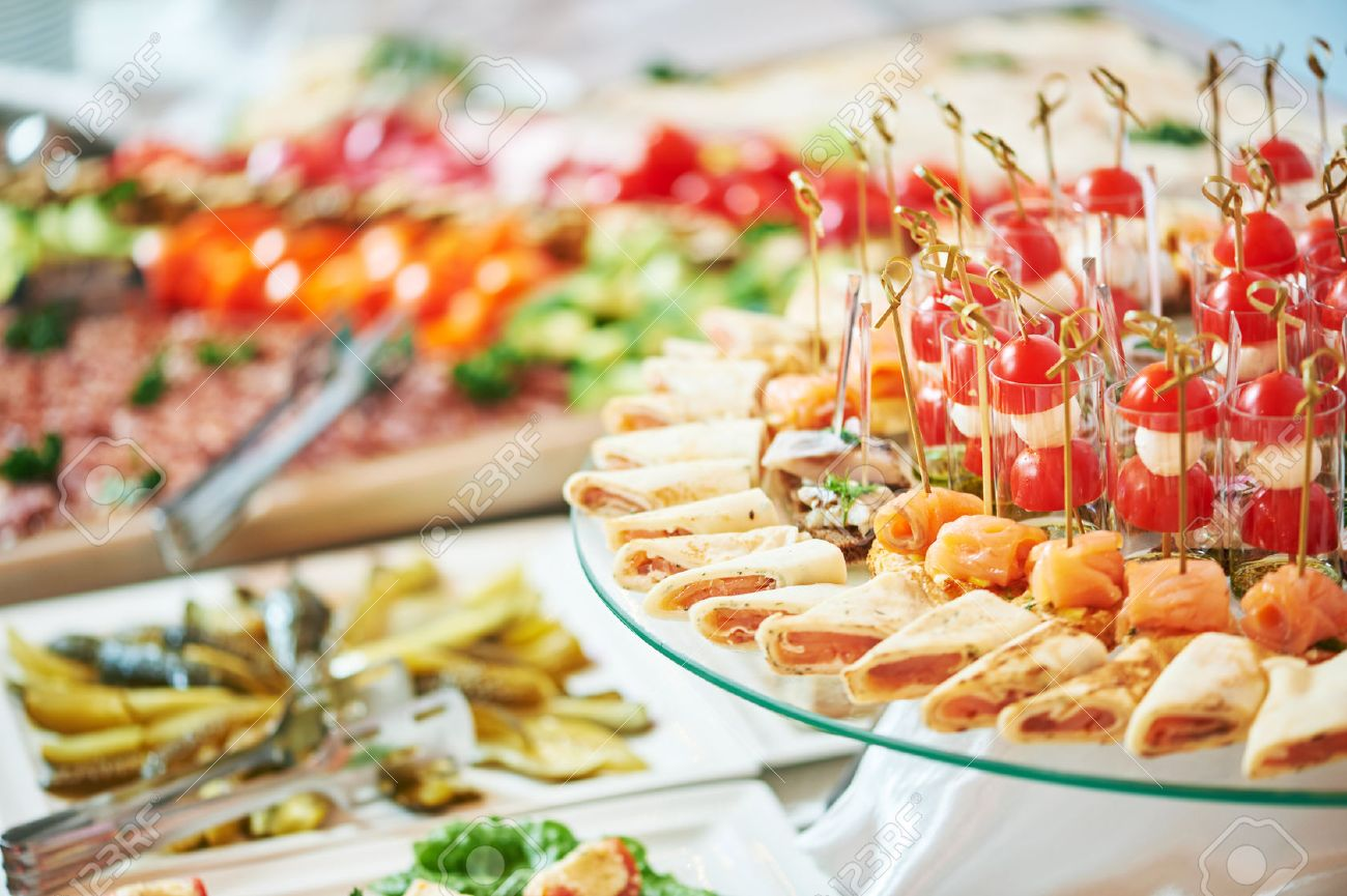 Catering service. Restaurant table with food at event. Shallow depth of view - 50038117