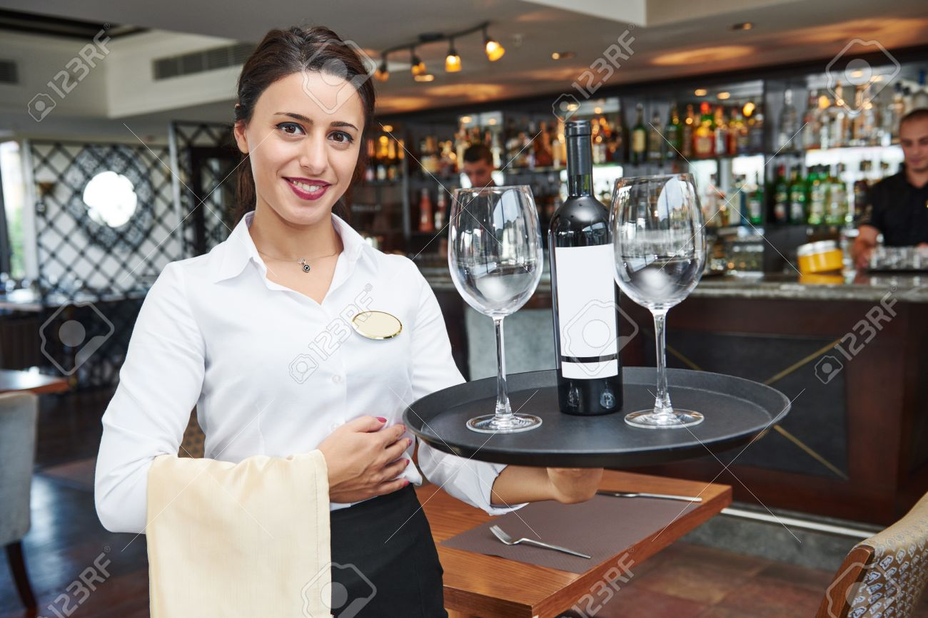 Waiter Restaurant Catering Service Female Cheerful Waitress Stock Photo Picture And Royalty Free Image Image 55591150