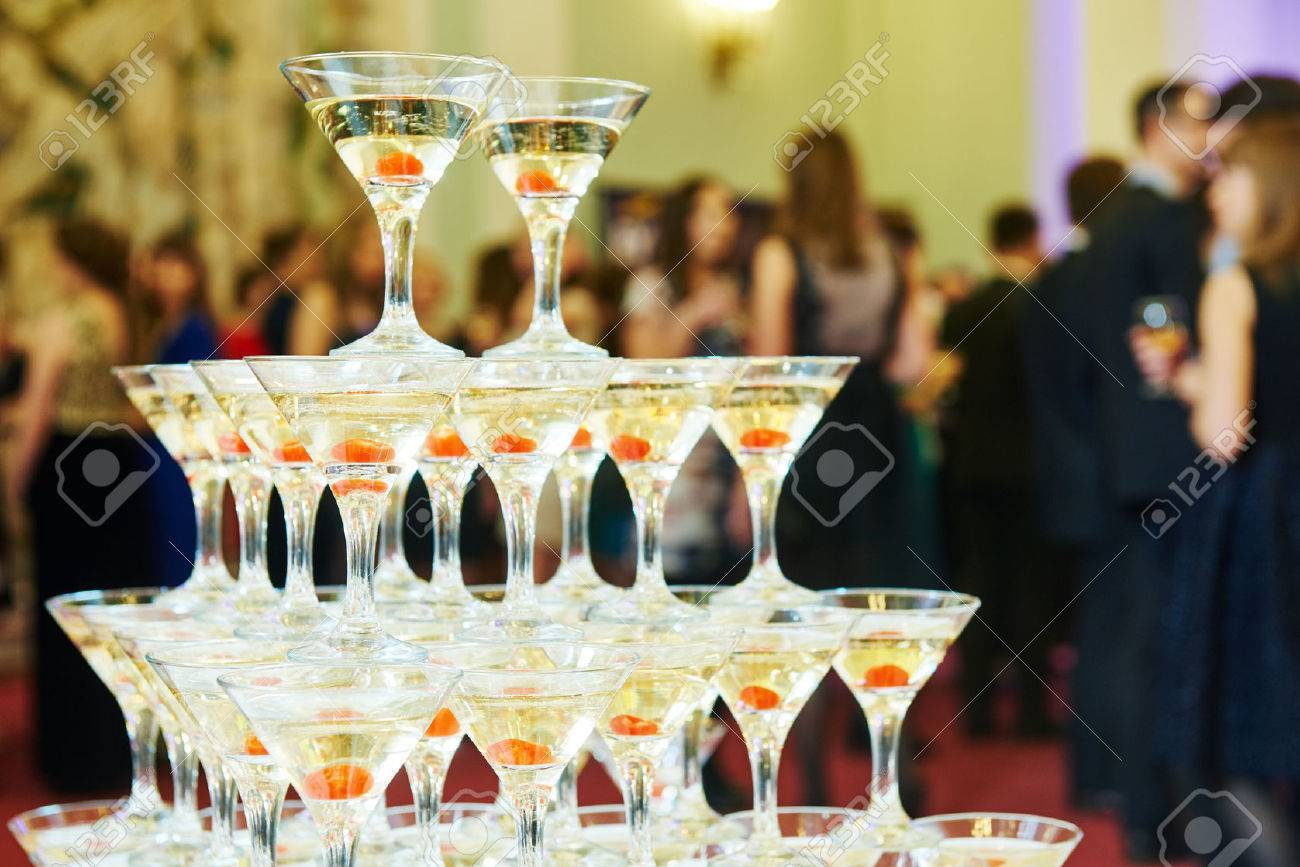 Champagne pyramid as decoration of your banquet 63