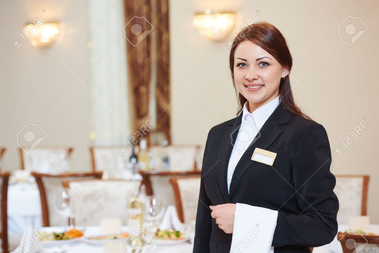 Waiter Manager Occupation Female Waitress At Restaurant Catering Stock Photo Picture And Royalty Free Image Image 64987218