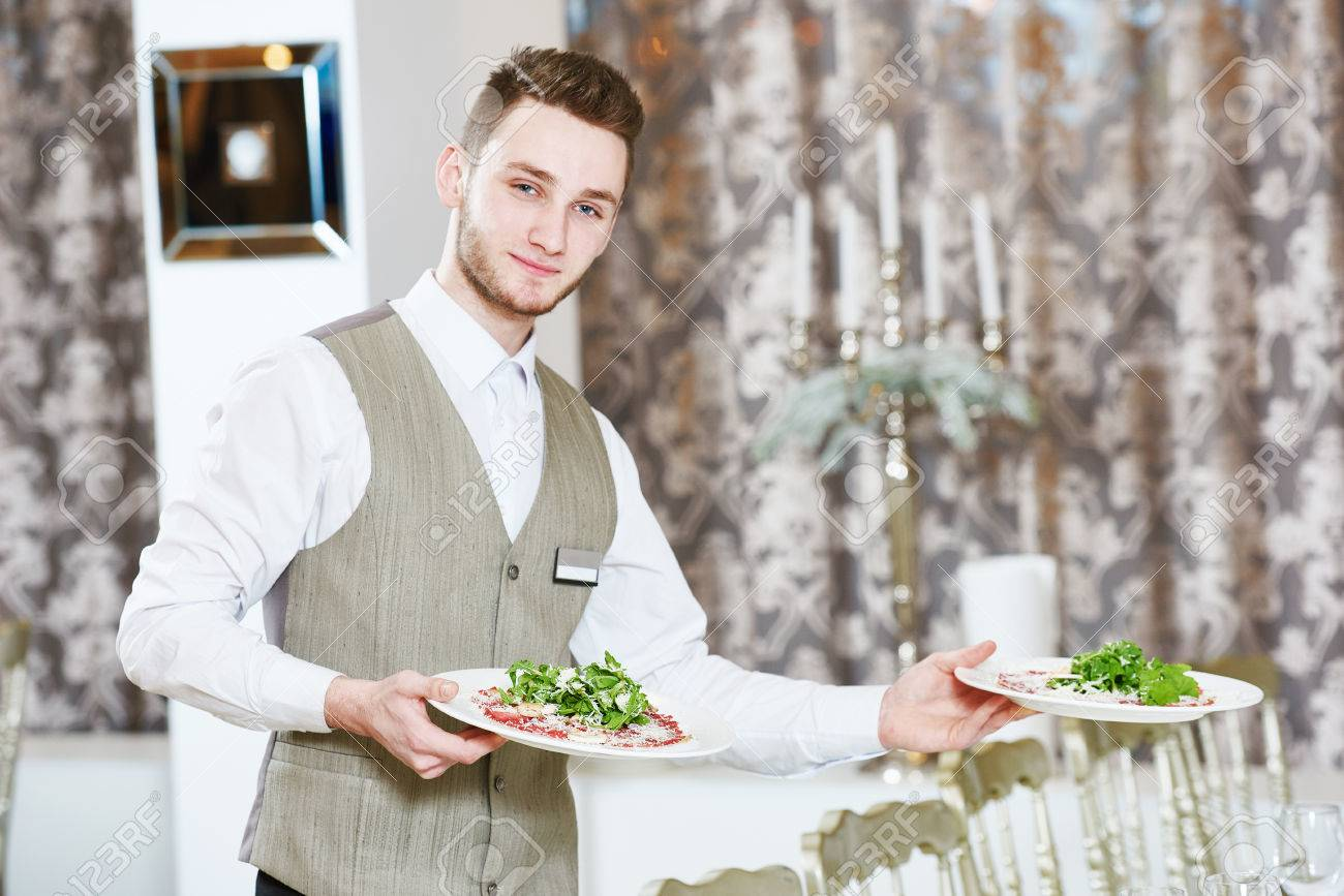 Restaurant Service Or Waiter Occupation Handsome Male Worker Stock Photo Picture And Royalty Free Image Image 64987293