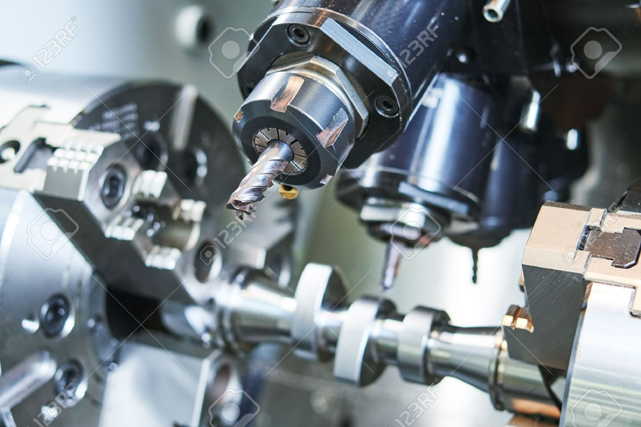 metalworking industrial process. precision CNC metal machining by cutting mill, drill and cutter Stock Photo - 64592597