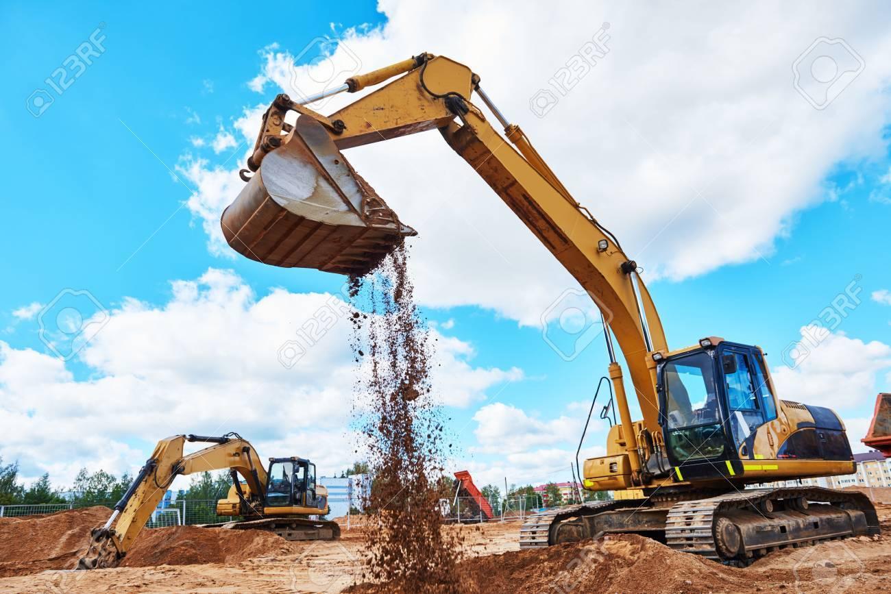 excavator at sandpit during earthmoving works - 70465074