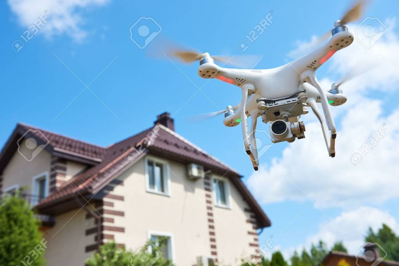 drone usage. private property protection or real estate check - 84606406
