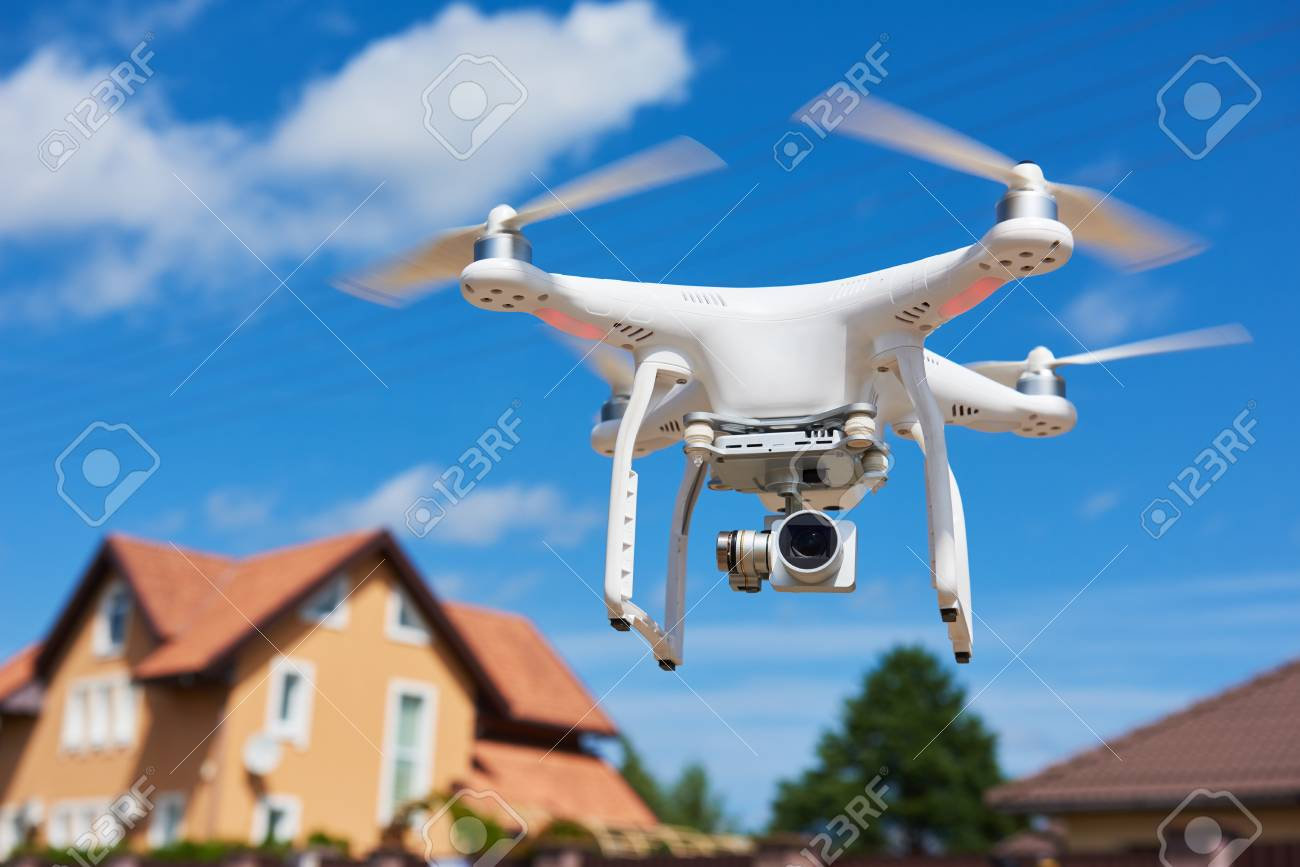 drone usage. private property protection or real estate check - 87801661